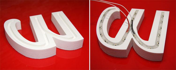 3D-Buchstabe mit LEDs für Außenbereich