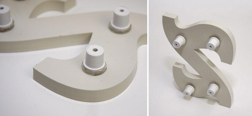 Kunststoff-Abstandshalter für 3D-Buchstaben