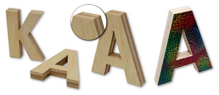 3D-Profilbuchstabe Holz 20mm normal und Holz bedruckt