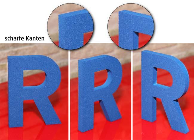 3D-Logo aus Schaum geschnitten und lackiert