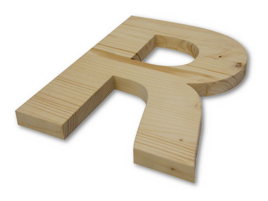 3D-Logo und 3D-Buchstaben aus Holz