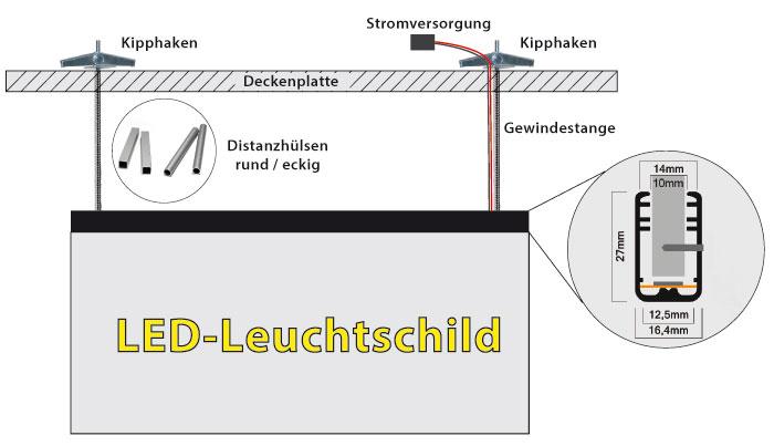 LED Schild Deckenmontage
