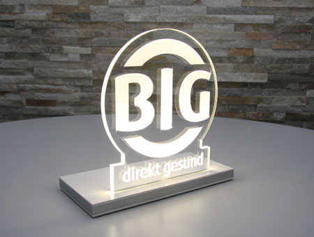 LED-Aufsteller mit graviertem Logo
