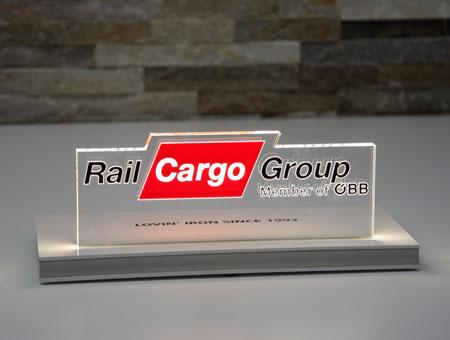LED-Tischaufsteller RailCargo