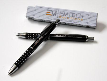 Werbemittel Zollstock und Kugelschreiber